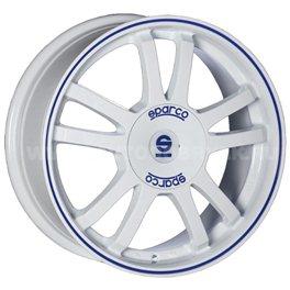 Sparco Rally 7.5x17/5x100 ET35 D63.3 White + Blue Lip