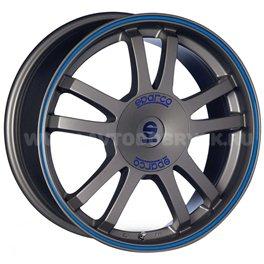 Sparco Rally 7x16/5x112 ET48 D73.1 Matt Silver Tech blue lip